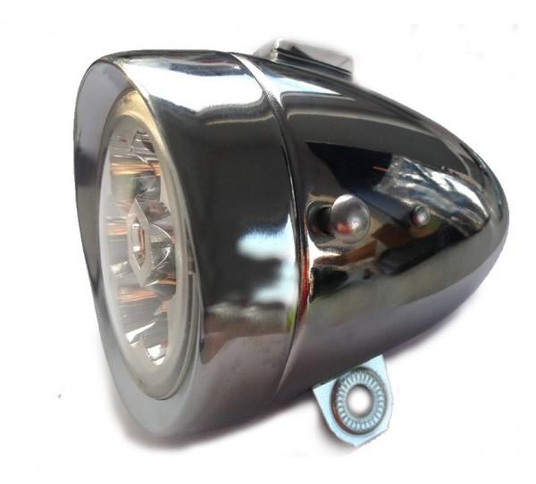 Lámpara delantera de 6 LED, de pilas, 80 mm, cromada