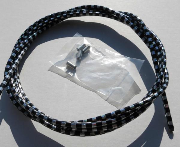 Cable exterior Bowden bandera de cuadros en negro / plateado