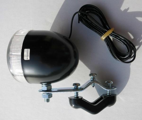 Luz delantera pequeña Big Bullet en negro 6V 3 W