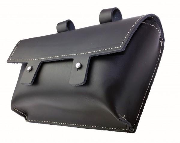 Bolsa para manillar de cuero auténtico en negro