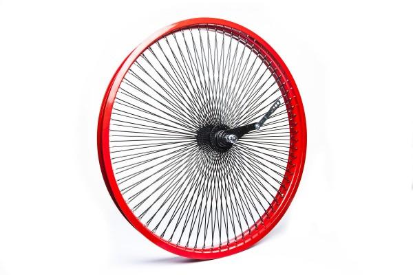 Rueda trasera con freno de pedal 26, 140 radios llanta en rojo radios en negro