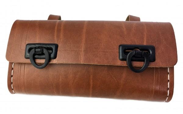 Alforja para herramientas en marrón, con 2 cierres de plástico en negro