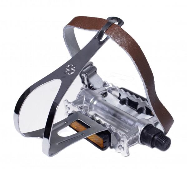 Pedales de aluminio Rat-Trap Sport / Touring con ganchos y correas de cuero