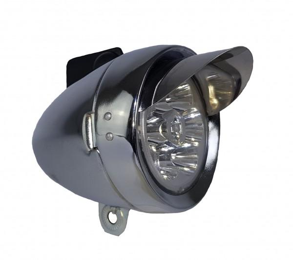 Classic Cycle retro LED lámpara frontal batería 70 mm plateada con parasol