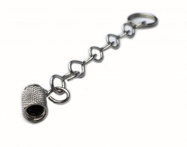 Tapa de válvula de metal con cadena