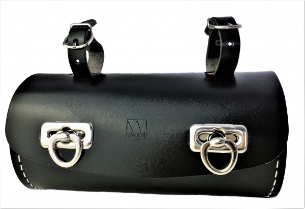 Alforja tipo barril de cuero auténtico en negro