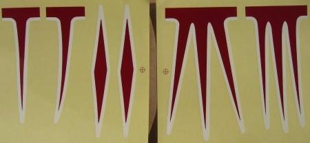 Juego de pegatinas para cuadro cruiser, rojo/blanco