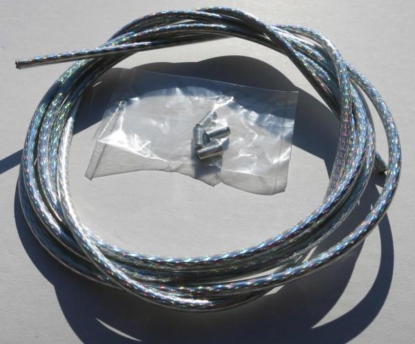 Cable exterior Bowden rombos plateado / brillo irisado