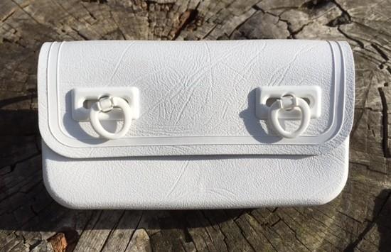 Alforja para herramientas vintage de plástico en blanco, años 70/80
