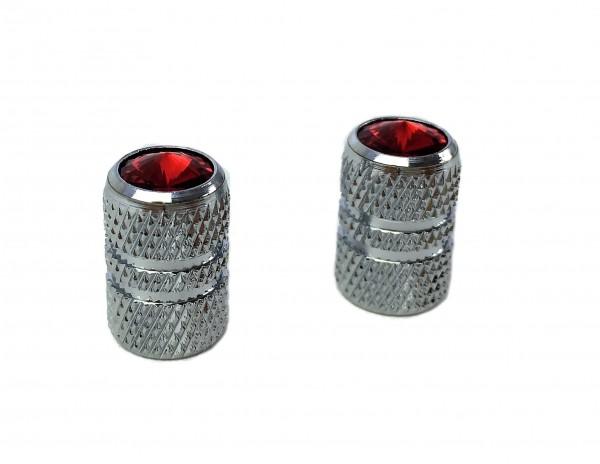 Tapas de válvulas cilindro de aluminio estriado y joya (rojo)