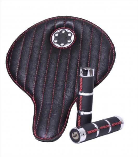 Sillín de cuero Special Box Avantgarde en negro con costuras en rojo, con puños